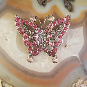Red rhinestone butterfly brooch GUC